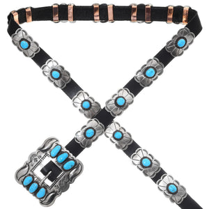 Navajo Turquoise Concho Belt for Skinny Jeans