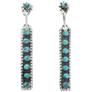 Zuni Turquoise Snake Eye Straight Dangle Earrings