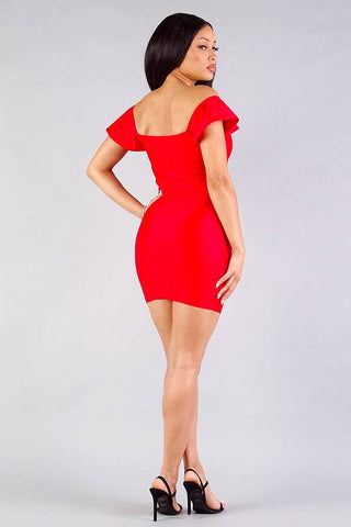 Convertible Off Shoulder Ruffle Sleeve Bodycon Mini Dress - ThriftyJean