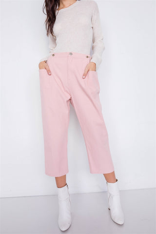 Pastel Chic Solid Ankle Wide Leg Adjustable Snap Waist Pants - ThriftyJean