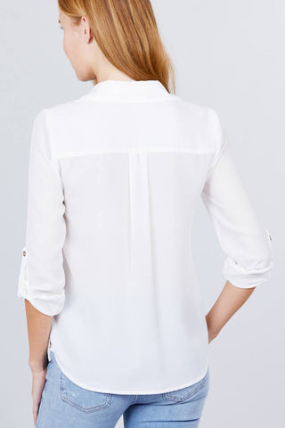 3/4 Roll Up Sleeve Pocket W/zipper Detail Woven Blouse - ThriftyJean