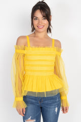 Sheer Mesh Open Shoulder Top - ThriftyJean