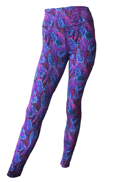neisha clothing, leggings, jumu, guaposapo, cotton high waisted yoga exercise print purpled