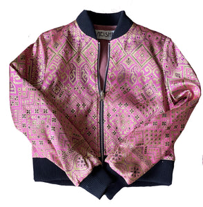soft baby pink and gold reversible bomber jacket with baby pink cordory lining neisha clothing aeisha clothing northcote melbourne