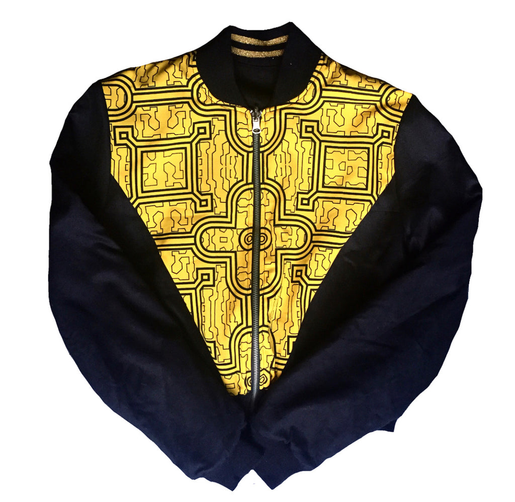 Yellow Shipibo Reversible bomber jacket