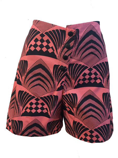 Deco, afro shorts high waisted, a line, african print, blush, pink, cotton