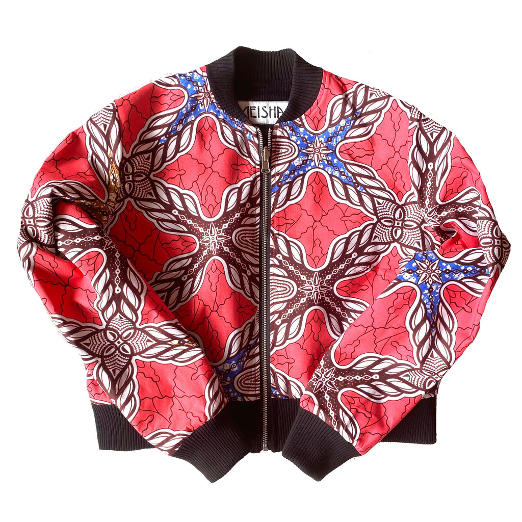 Coral African wax print reversible cropped bomber jacket Neisha clothing Aeisha clothing Northcote