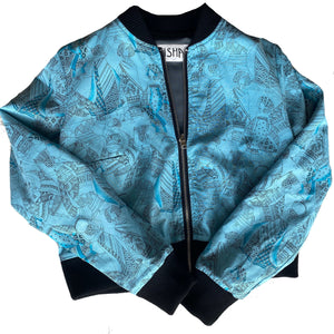 Neisha clothing Aeisha clothing reversible blue bomber jacket African woman print with grey wool lining