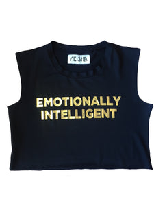 Emotionally Intelligent Crop top, neisha clothing, aeisha clothing, northcote, gold foil print on black