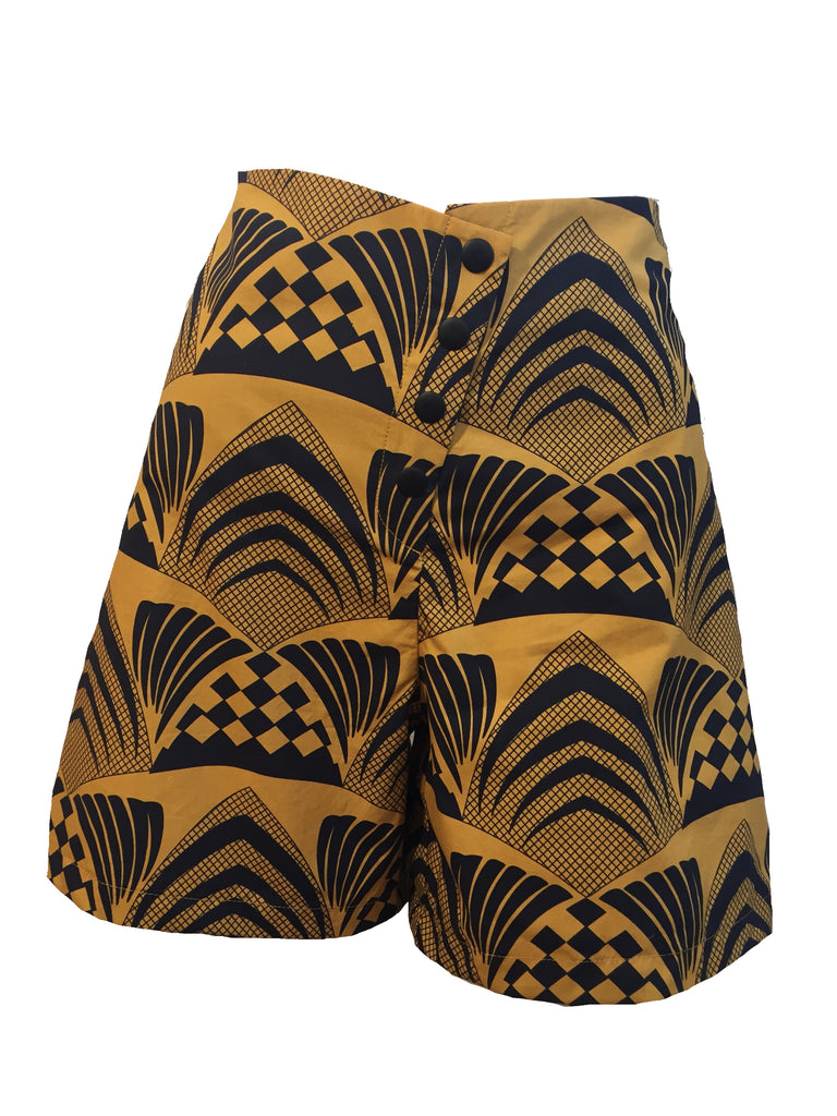 Deco, afro shorts high waisted, a line, african print, mustard, tumeric, cotton