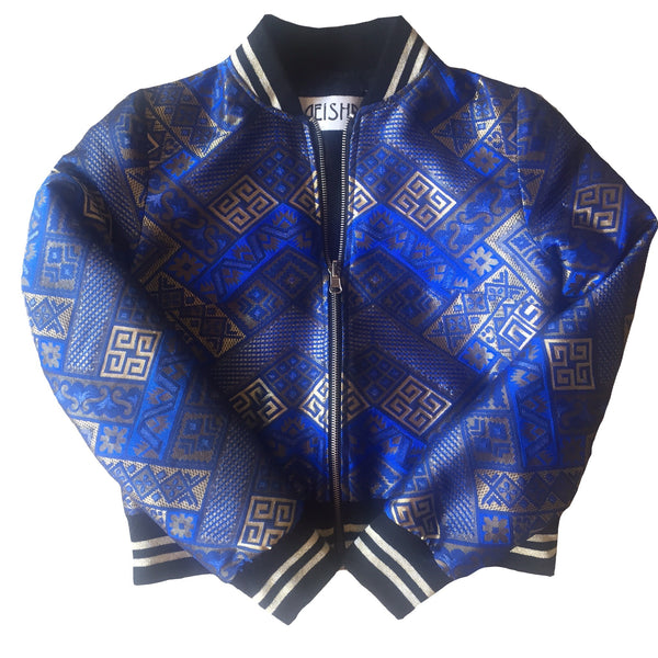 Royal and Gold sparkly reversible bomber