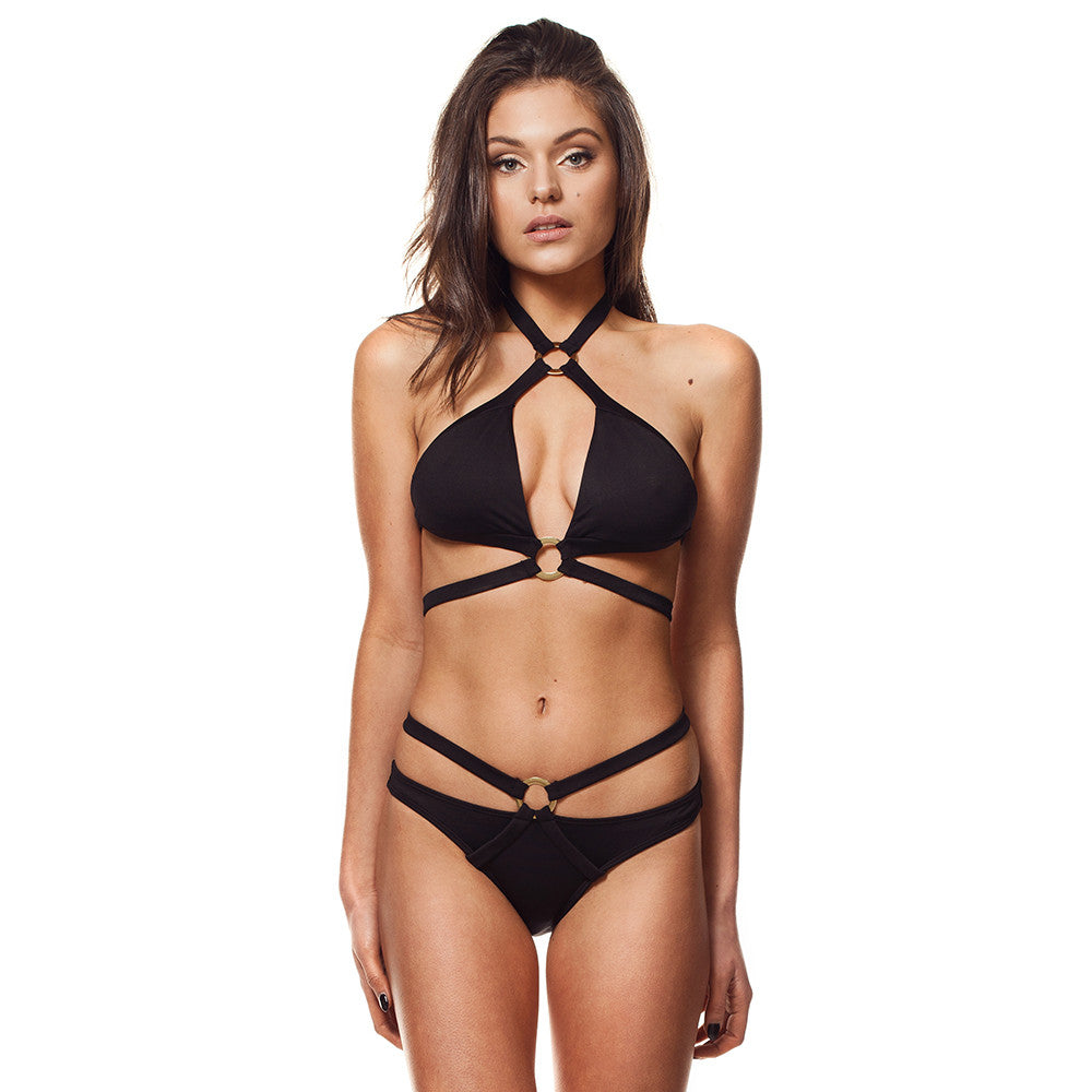 Black Push Up Wrap Halter