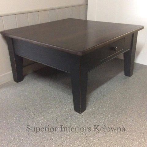 Coffee table refinished by Superior Interiors Kelowna