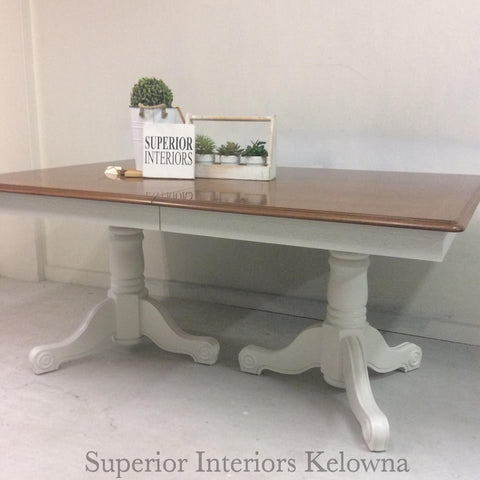 Dining Table refinishing by Superior Interiors Kelowna