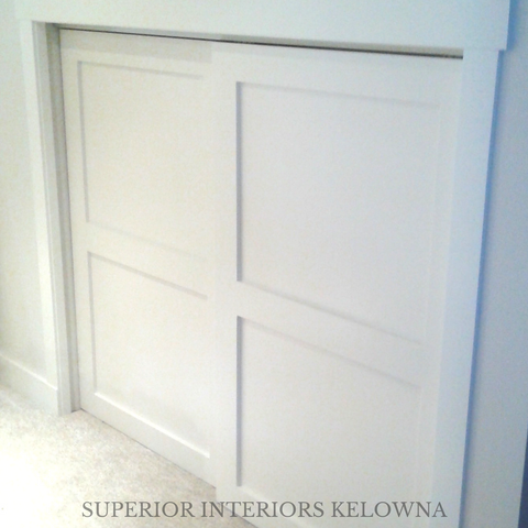 Solid wood bypass doors custom built by Superior Interiors Kelowna