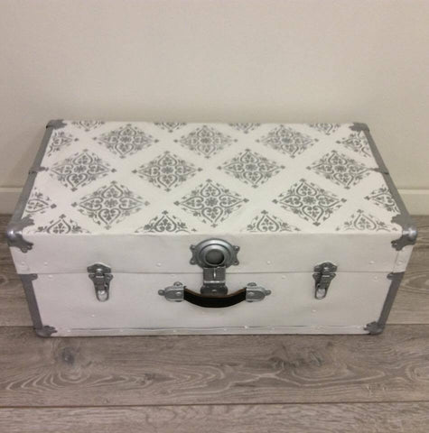 Stenciled Metallic Metal Trunk Makeover
