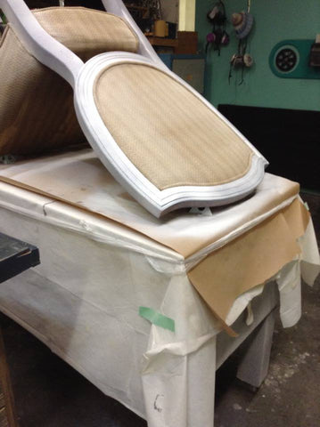 Priming a chair with Superior Paint Co. Base Coat