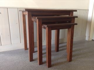 Nesting tables stained with SamaN Mahogany and Dark Walnut
