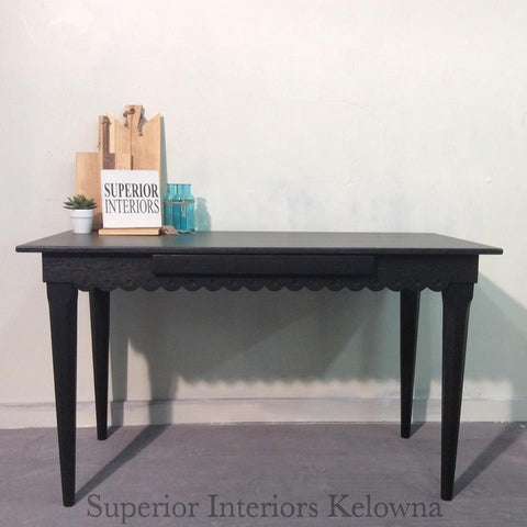 Superior Interiors Kelowna - Furniture refinishing services - stained desk in Saman Black and flat varnish