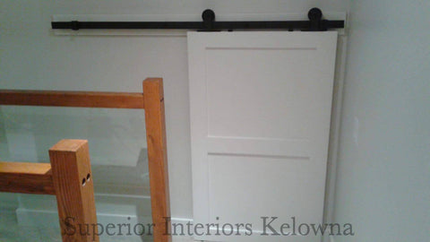 Custom built solid wood barn doors by Superior Interiors Kelowna