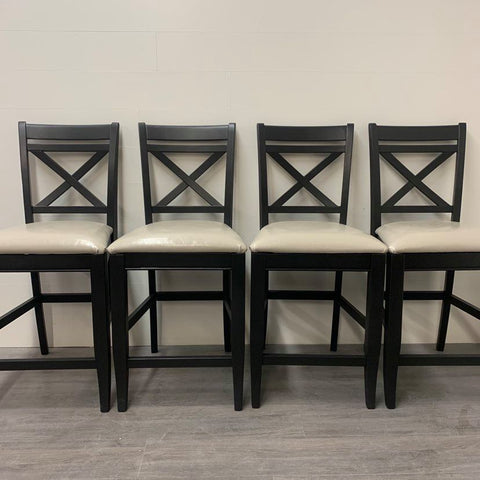 4 Cast Black Counter Height Stools