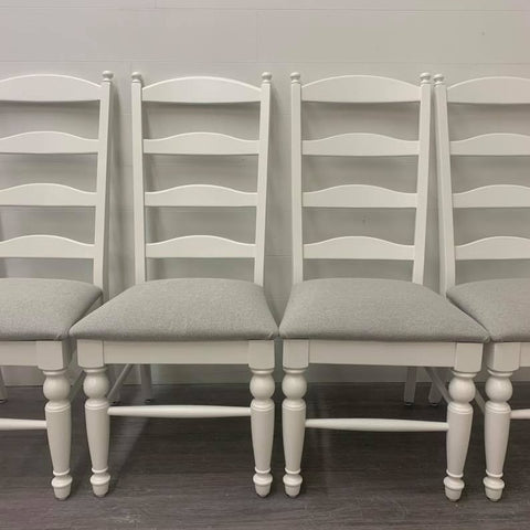 4 Little White Modern Farmhouse Style Dining Chairs