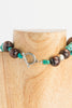 "Adede - Turquoise, wood, bone, silver and sterling 19"" choker necklace"