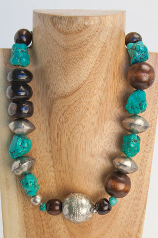 Axie - Orange, Brown and Turquoise Stone and Silver Metal Choker Necklace