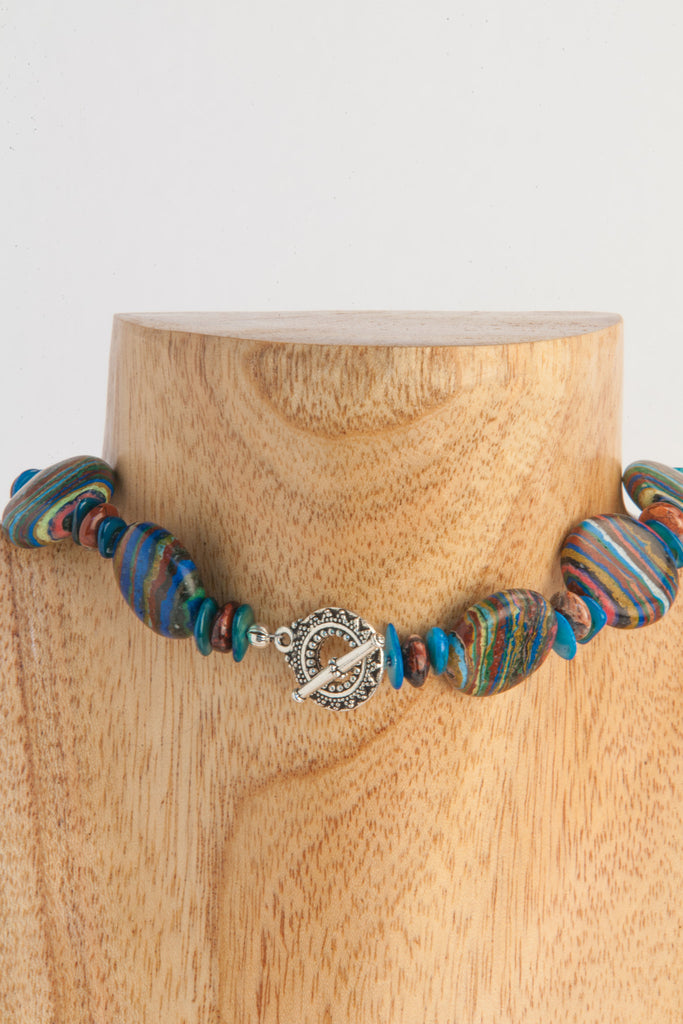 Adel - Zebra stone choker necklace with shell