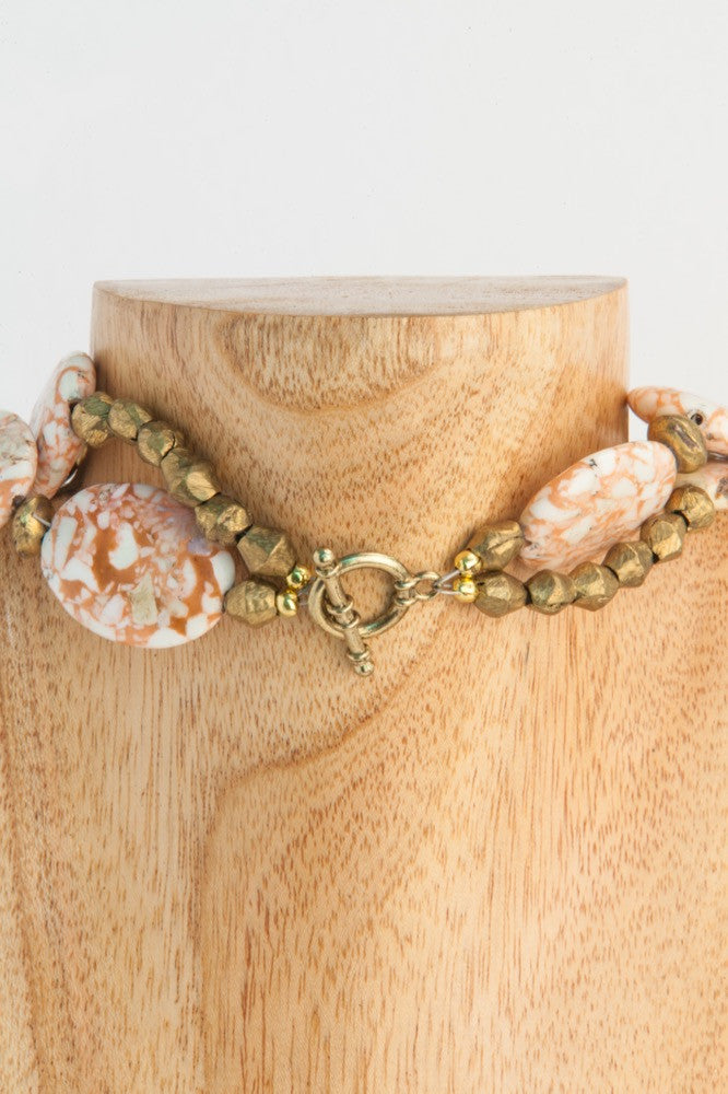 2 strand pressed stone necklace in peach and ivory - clasp