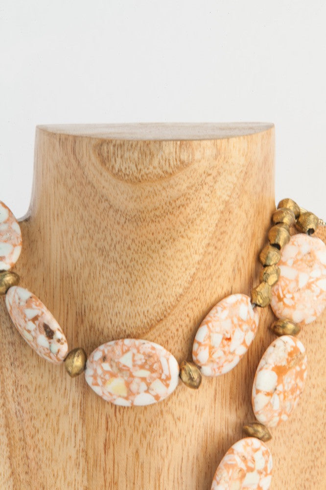 2 strand pressed stone necklace in peach and ivory