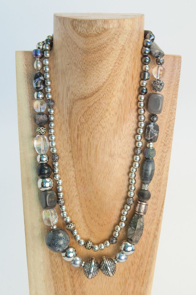 Adele & Eileen - Grey Labradorite, Pearls and Crystal Necklace