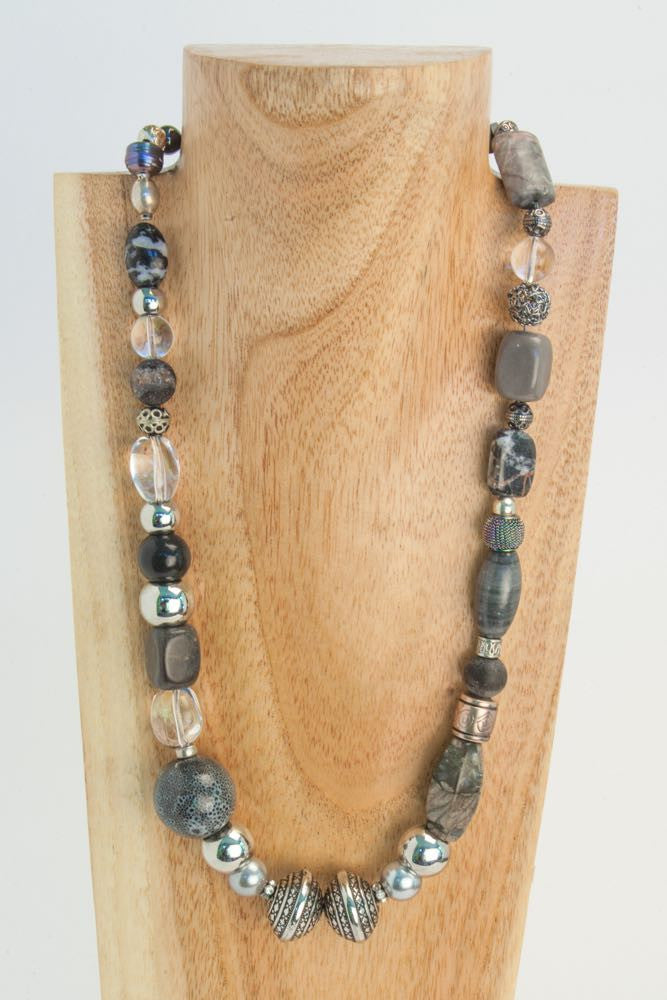 Adele - Grey Labradorite, Pearls and Crystal Necklace