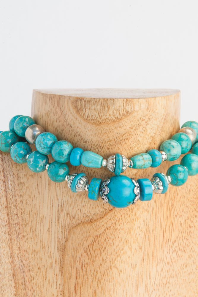 Alo - 2 strand Turquoise and Sterling Necklace