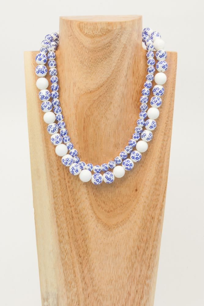 Alyson - White and Blue 2 strand Ceramic, Shell and Silver Necklace