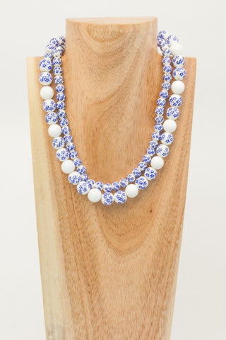 Bralin - Blue and White Pressed Stone and Silver Metal Choker Necklace