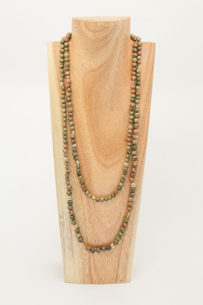 Andy - Long Green and Rust Single Strand Jasper and Gold Necklace