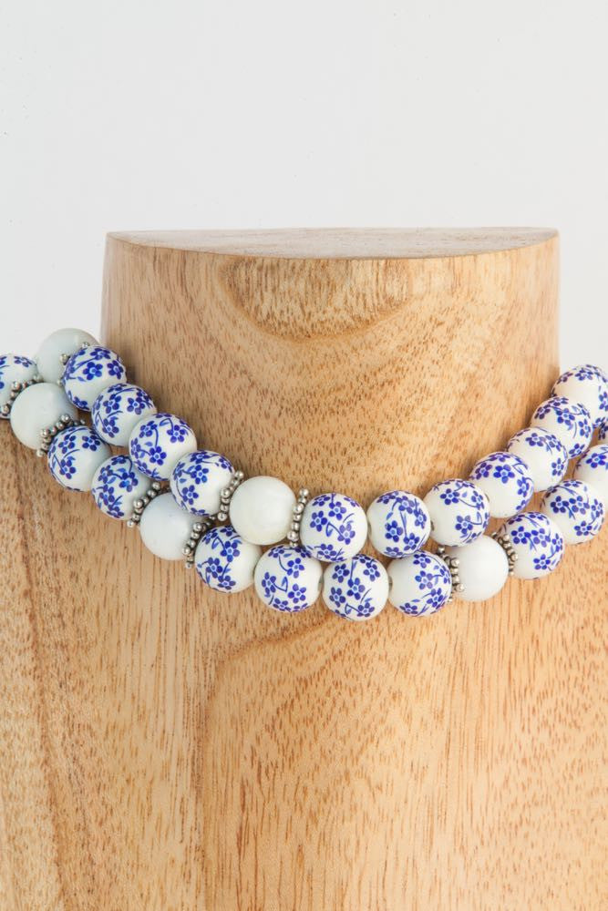 Anita - White and Blue Ceramic, Shell and Sterling Necklace