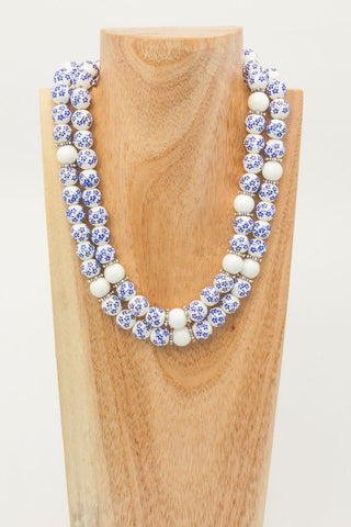 Cory - Blue and White Ceramic Balls with Sterling Rondels Necklace