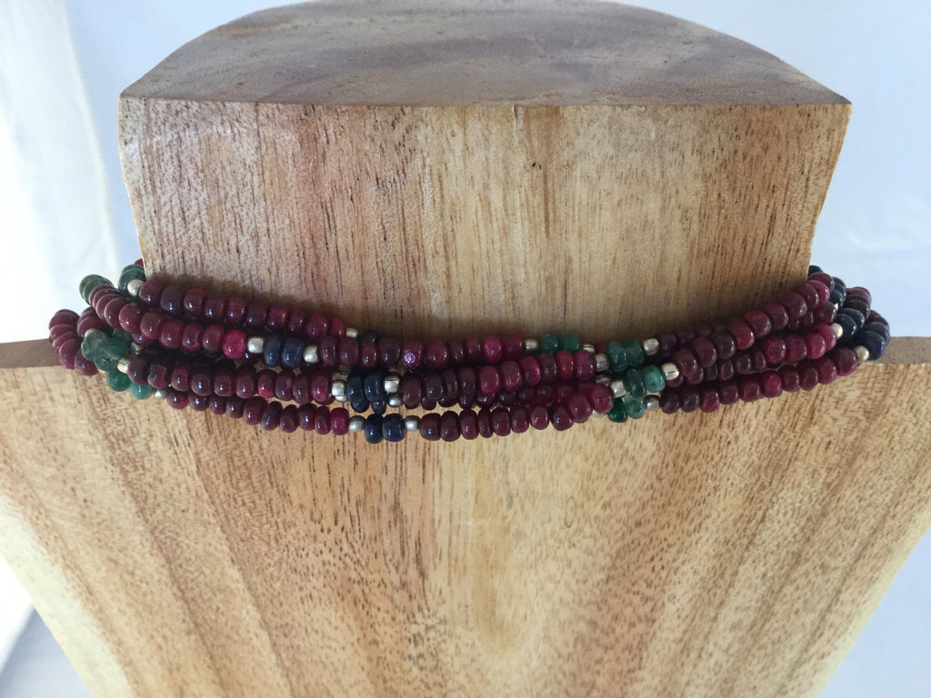 Ruby Seed Bead 6 strand Necklace