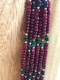 Emerald and Sapphire seed beads mixed with the Rubies