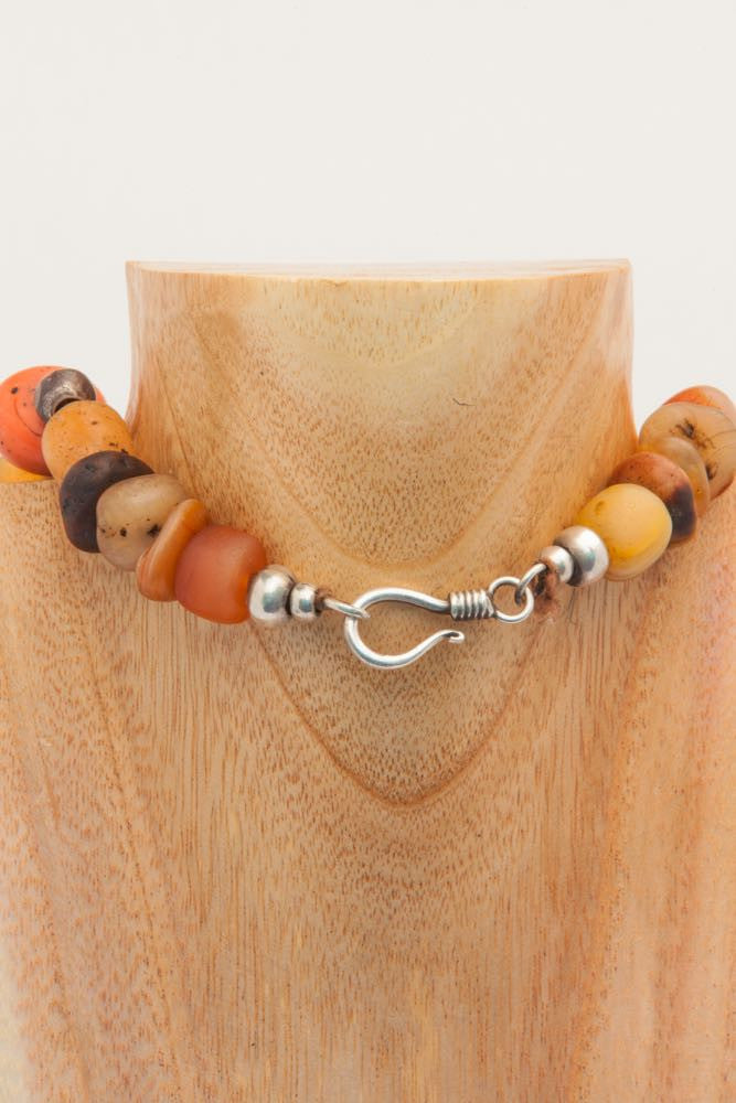 Axie - Orange, Brown and Turquoise Stone and Silver Metal Chocker Necklace