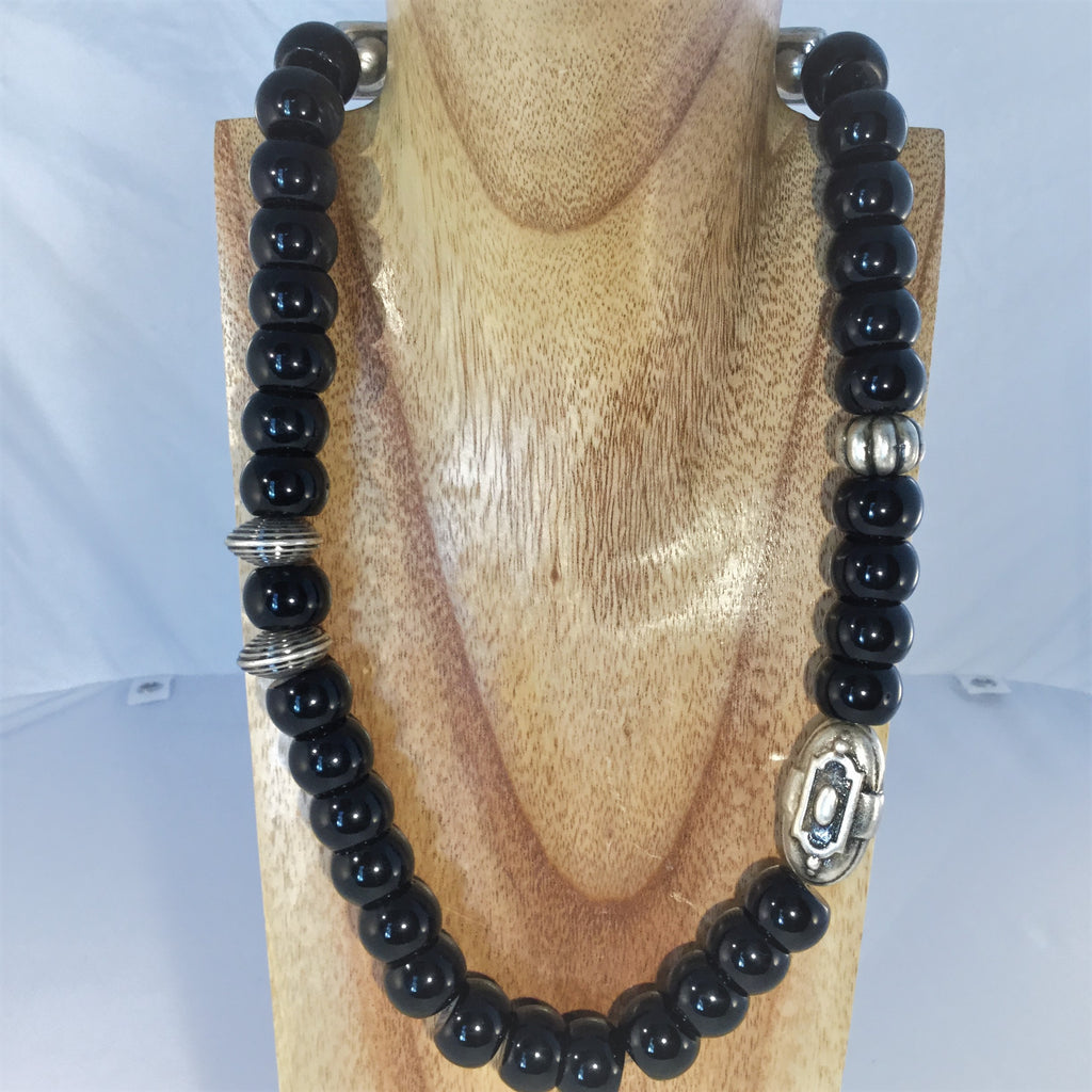 BASIC BLACK: 12 x 15mm black Onyx rondels with Italian silver metal
