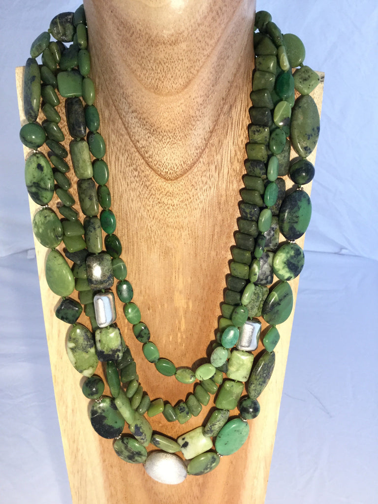 BASILE: 4 strand apple green Aventurine necklace.