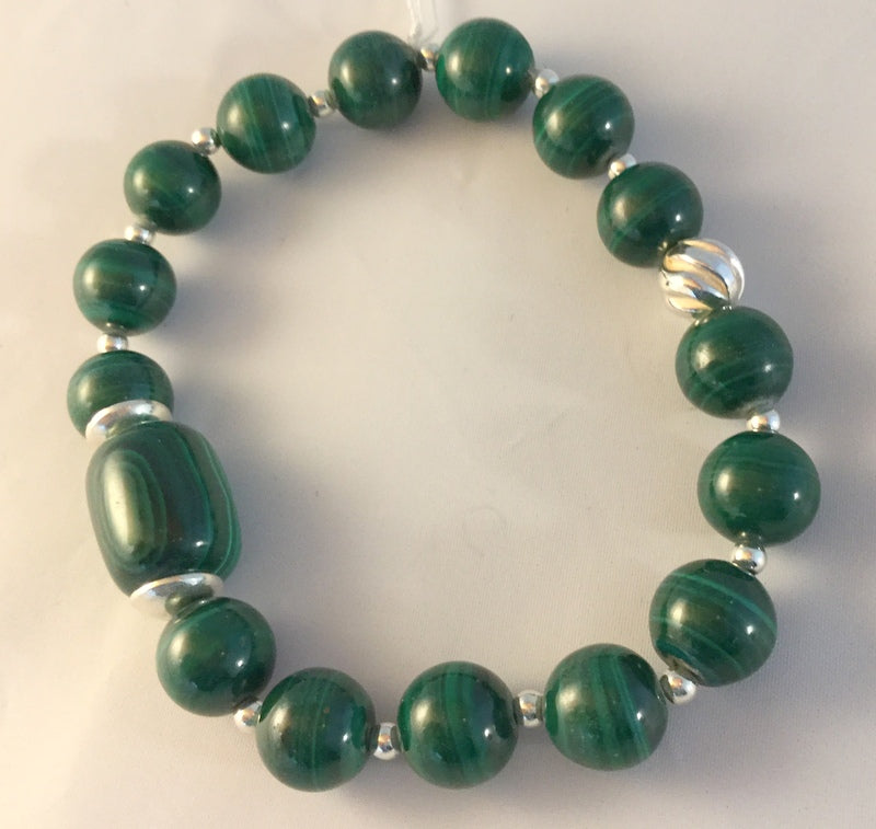 BG16S: Malachite and sterling bracelet