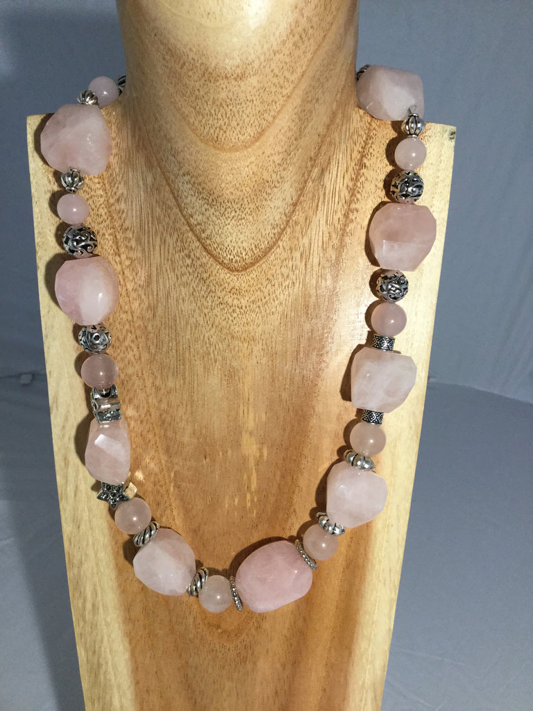 BLUSH: Rose Quartz & Chalcedony Necklace.