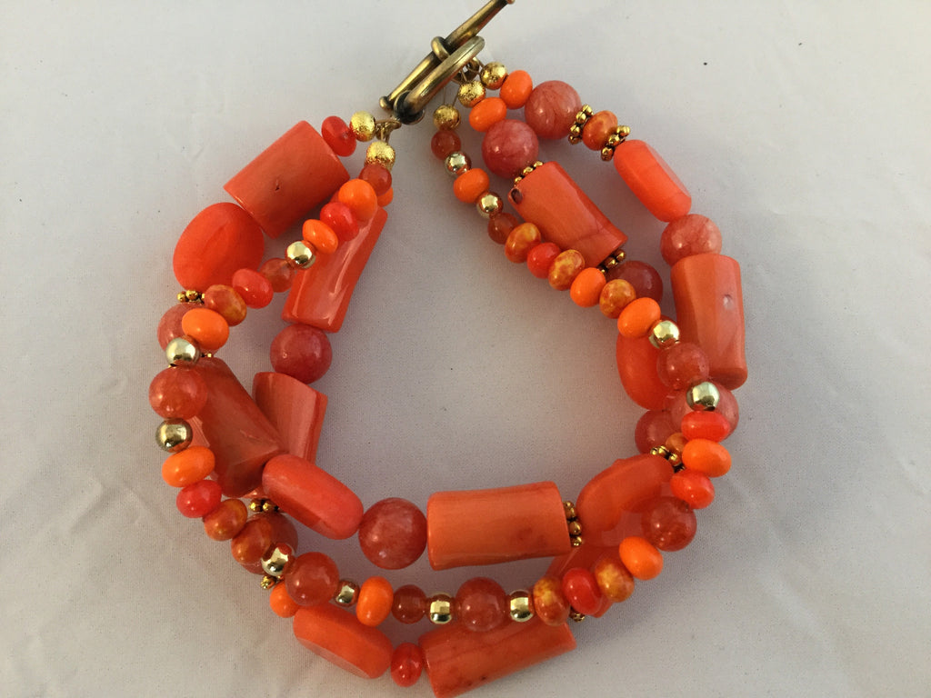 BO13: Orange Bamboo 3 strand Bracelet with gold.