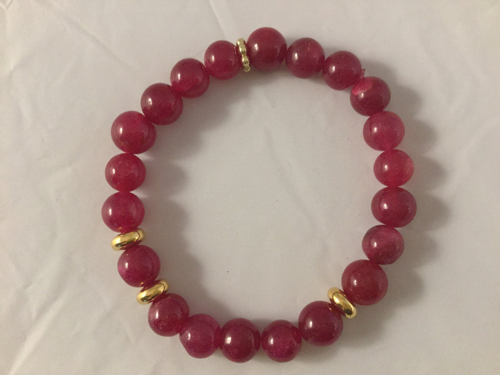 ROUGE: Red Ruby and gold Necklace.