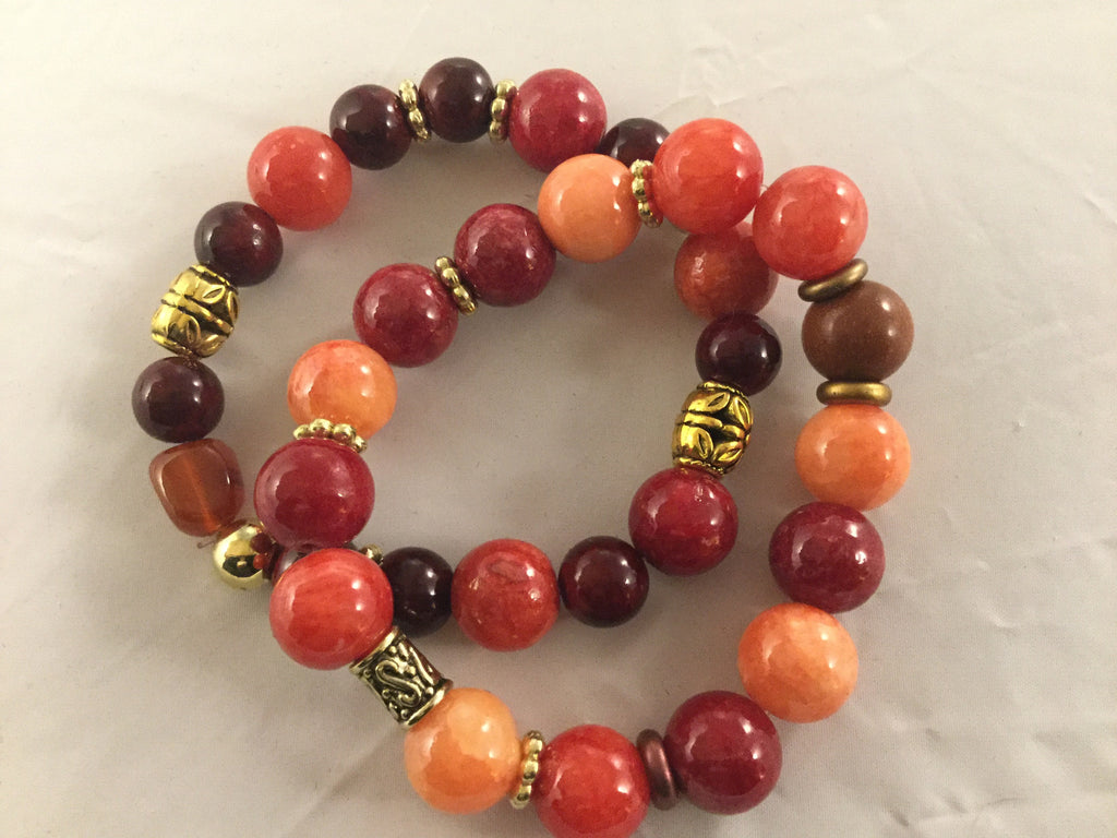 Burgundy and orange Agate Bracelet