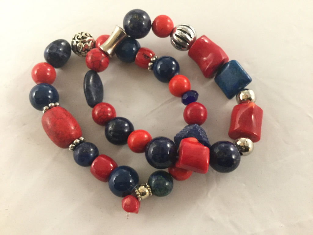 BRN4S & BRN5S cline navy Lapis and ceramic with red dyed Bamboo and Howlite